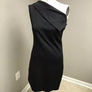 Helmut Lang Asymmetric Sleeveless Crepe Mini Dres